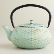 Aqua Cast Iron Teapot